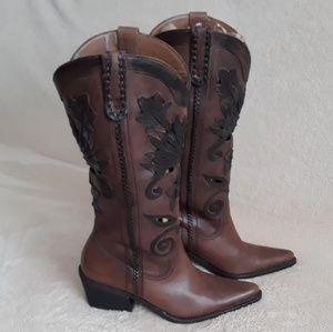 Carlos Santana Slinger Leather Cowboy Boots